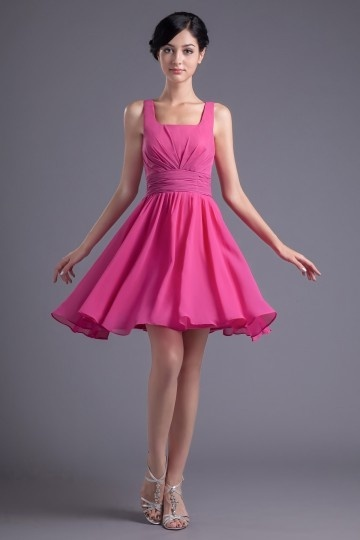 Dressesmall A line Square Neck Empire Pleated Ruched Chiffon Short Formal Bridesmaid Dress