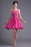 A line Square Neck Empire waist Pleated/Runched Chiffon Knee-length Bridesmaid Dress
