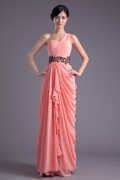 One-shoulder Lace Applique Beaded Swing Pleated Wraped Chiffon Floor length Evening Dress