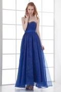 A line Strapless Beading Runching Waist Band Organza Long School Formal Dress