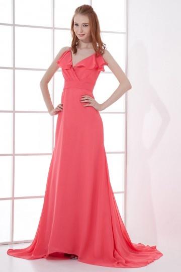 Vestido de noite vermelho linha A decote em V com alça fina em chiffon