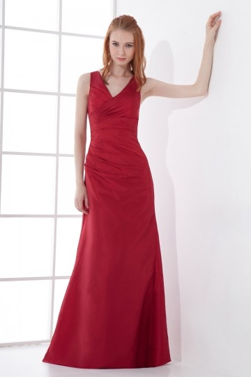 Empire rotes  A-Linie V-Ausschnitt Bodenlanges Abendkleider aus Taft Persun