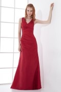 A line V neck Ruched Hip Wraped Taffeta Long Formal Bridesmaid Dress