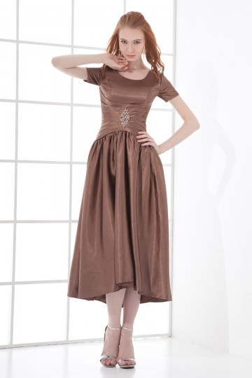 Dressesmall Round Collar Short Sleeved Tea length Formal dress