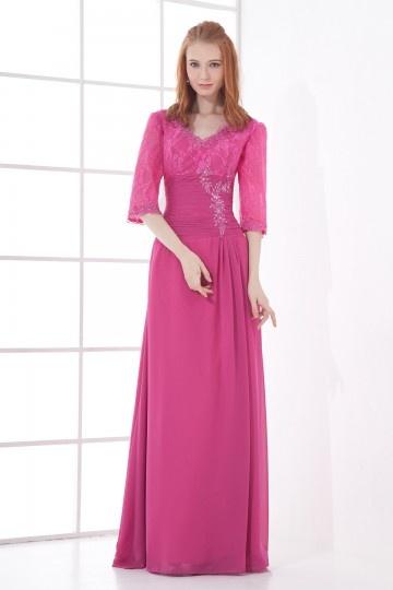 Vestido mãe de noiva decote em V de renda rosa e chiffon