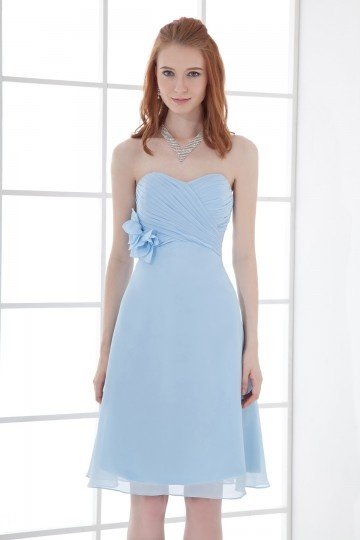 Dressesmall A line Strapless Empire Waist Handmade flowers Runching Chiffon Knee length Bridesmaid Dress