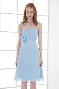 A line Strapless Empire Waist Handmade flowers Runching Chiffon Knee length Bridesmaid Dress