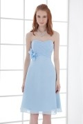 A Line Strapless Empire Handmade flowers Ruching Chiffon Knee Length Bridesmaid Dress
