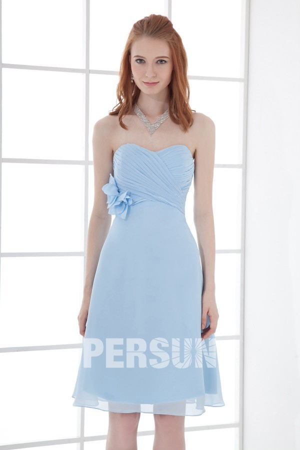 blau Rüsche Blume träglos Chiffon-Kleider