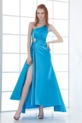 Sexy One Shoulder Side Slit Beading Taffeta Ankle length School Formal Dress