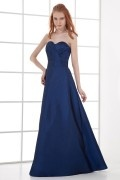 Elegant A line Strapless Empire waist Taffeta Long Formal Bridesmaid Dress