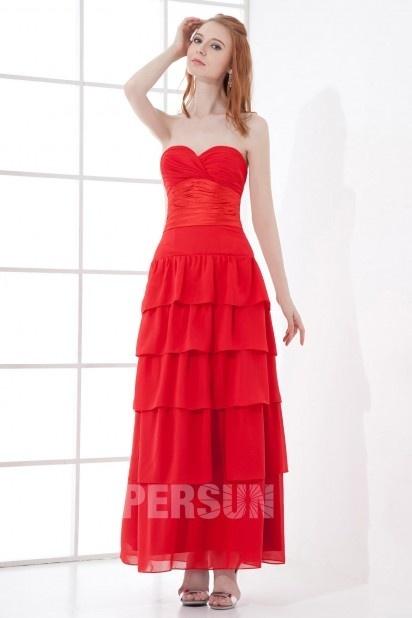 Vermelho Vestido de baile decote em coração bustiê linha A Sem alça em Chiffon