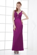 Sexy Sweetheart Deep V neck Backless Beaded Hip Wraped Elastic Satin Long Formal Dress