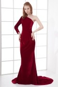 Slim A line One shoulder Long sleeve Corduroy Trailing Prom Dress