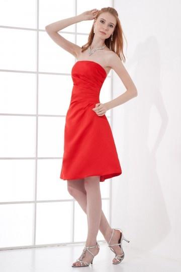 Robe de soirée simple bustier plissée courte en satin rouge