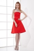 Simple A line Strapless Satin Knee length Formal Bridesmaid Dress