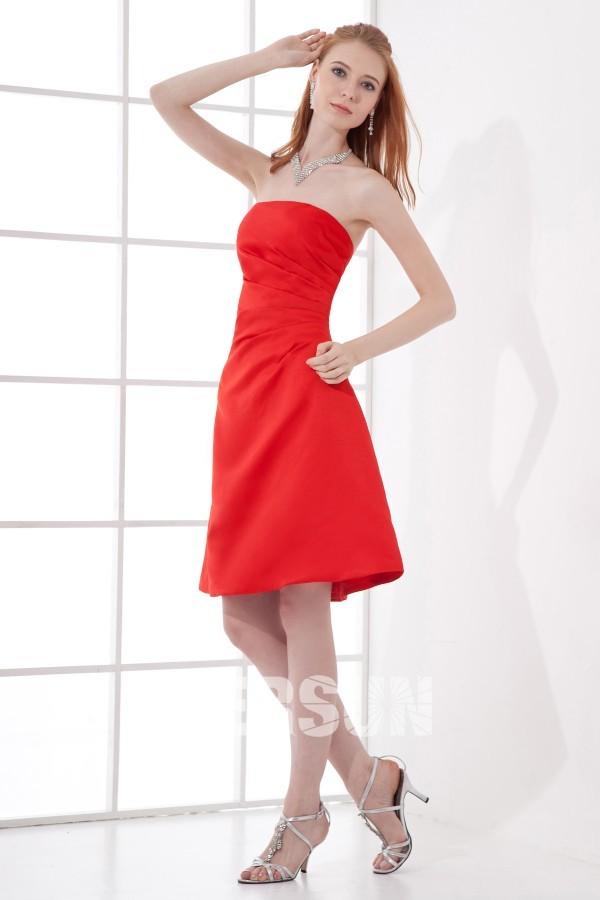 robe demoiselle d 39 honneur bustier pliss e courte en satin. Black Bedroom Furniture Sets. Home Design Ideas