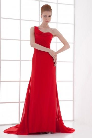 Vestido de noite vermelho assimétrico linha A em Chiffon