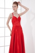 A line Spaghetti Straps Backless Beading Hip Wraped Elastic Satin Long Formal Dress