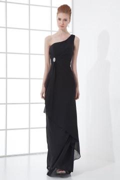 Noire robe de soirée à une épaule longue ornée de strass en mousseline
