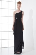 One Shoulder Beaded Flounced Wraped Chiffon Long Formal Dress