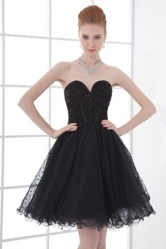 Sexy Sweetheart Strapless A line Tulle Short Cocktail Dress