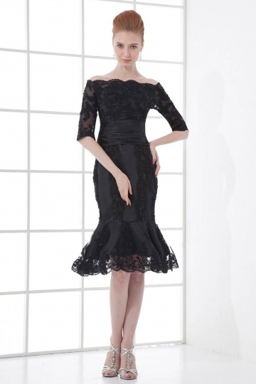 Dressesmall Sexy Boat Neck Translucent Lace Fishtail Knee length Formal Dress