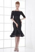 Sexy Boat Neck Translucent Lace Fishtail Knee length Formal Dress