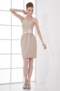 Strapless Applique Handmade flower Belt Wraped Taffeta Short Formal Bridesmaid Dress
