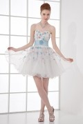 Lovely A line Strapless Empire Waist Flower Beading Organza Short Cocktail Dress