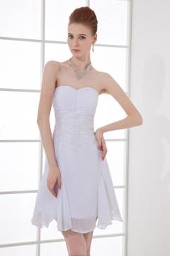 Brentford Strapless Runched Applique Chiffon Short Wedding Dress