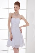 A Line Strapless Runched Applique Chiffon Short Wedding Dress