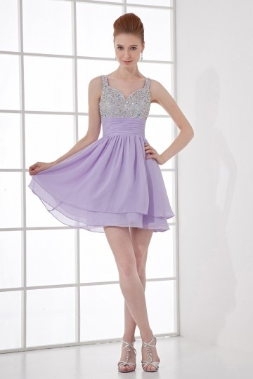 Dressesmall Exquisite A line Sweetheart Empire Waist Beading Chiffon Short Cocktail Dress
