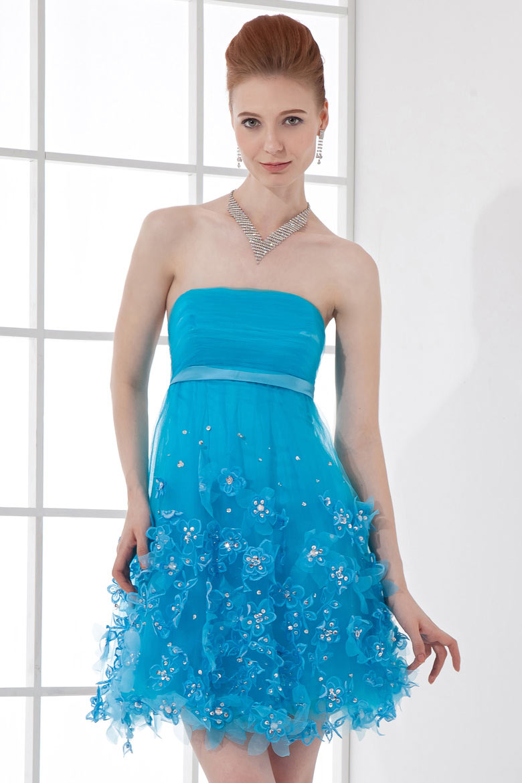 Vestito Azzurro Matrimonio : Applicazioni stile principessa azzurro corto abito da