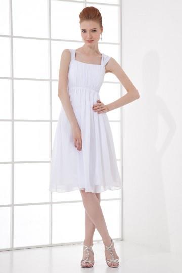Vestido branco curto simple decote quadrado em Chiffon