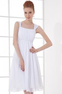 Robe blanche courte simple décolleté carré en mousseline