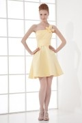 Simple One shoulder Empire Handmade flower Beaded Taffeta Short Cocktail Dress