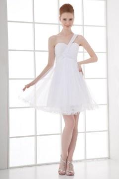 Simple One Shoulder A line Short White Cocktail Dress