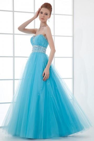 Chic A-Linie Herz-Ausschnitt blaues langes Ballkleid aus Tüll Persun