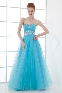 Gorgeous A line Empire Tulle Beading Long Blue Prom Dress