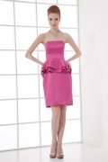Simple Elegant A line Strapless Flounced Satin Knee length Formal Bridesmaid Dress