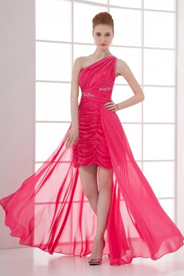 Dressesmall One Shoulder Beaded Runching Wraped Chiffon High low Prom Dress