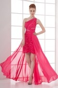 One Shoulder Beaded Runching Wraped Chiffon High low Prom Dress