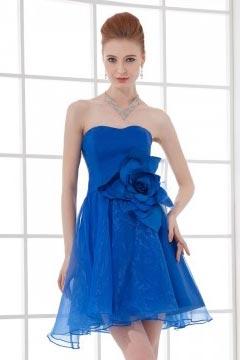 Brighton Strapless Applique Empire Waist Organza Short Cocktail Gown