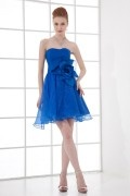 Sexy A line Strapless Applique Empire Organza Short Cocktail Dress