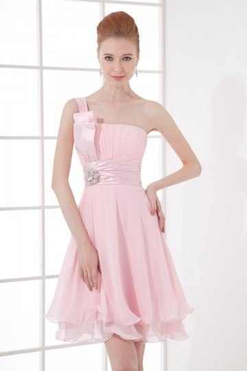 Dressesmall Simple One shoulder Empire Beaded Ruching Chiffon Short Formal Bridesmaid Dress