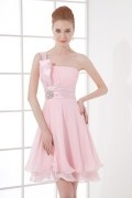 Simple One Shoulder Empire Beaded Ruching Chiffon Short Bridesmaid Dress
