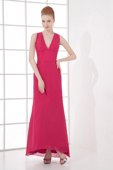 Dressesmall Simple and elegant A line V neck Backless Chiffon Long Formal Bridesmaid Dress