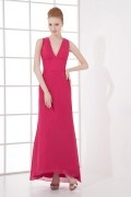 Simple and elegant A line V neck Backless Chiffon Long Formal Bridesmaid Dress