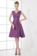 Simple A line V neck Ruching Waistband Knee length Formal Bridesmaid Dress